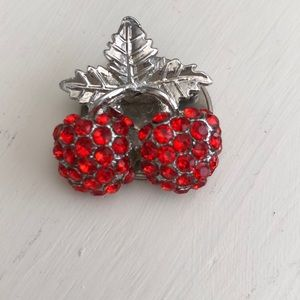 Vintage Silver-tone Costume Jewelry Cherry Brooch